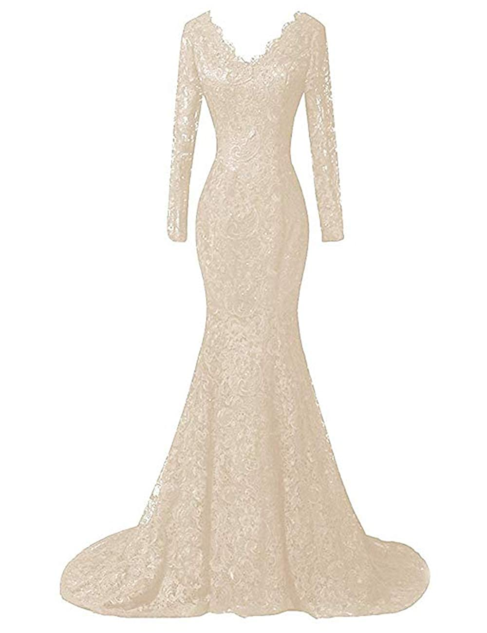 Champagne Ri Yun Women's Elegant Long Sleeves Lace Prom Dresses Mermaid VNeck Beaded Formal Evening Party Gowns