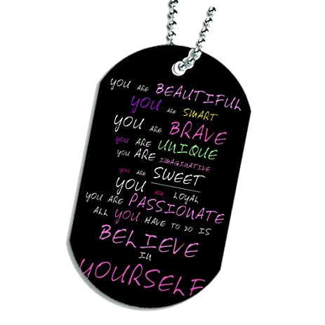 Amazon you are beautiful believe in yourself dog tag necklace you are beautiful believe in yourself dog tag necklace keychain solutioingenieria Image collections