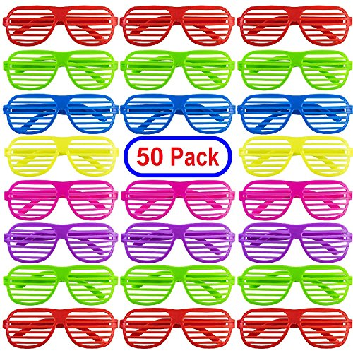 Mega Pack 50 Pairs of Kids Plastic Shutter Shades Glasses Shades Sunglasses Eyewear Party Favors and Party Props Assorted Colors -