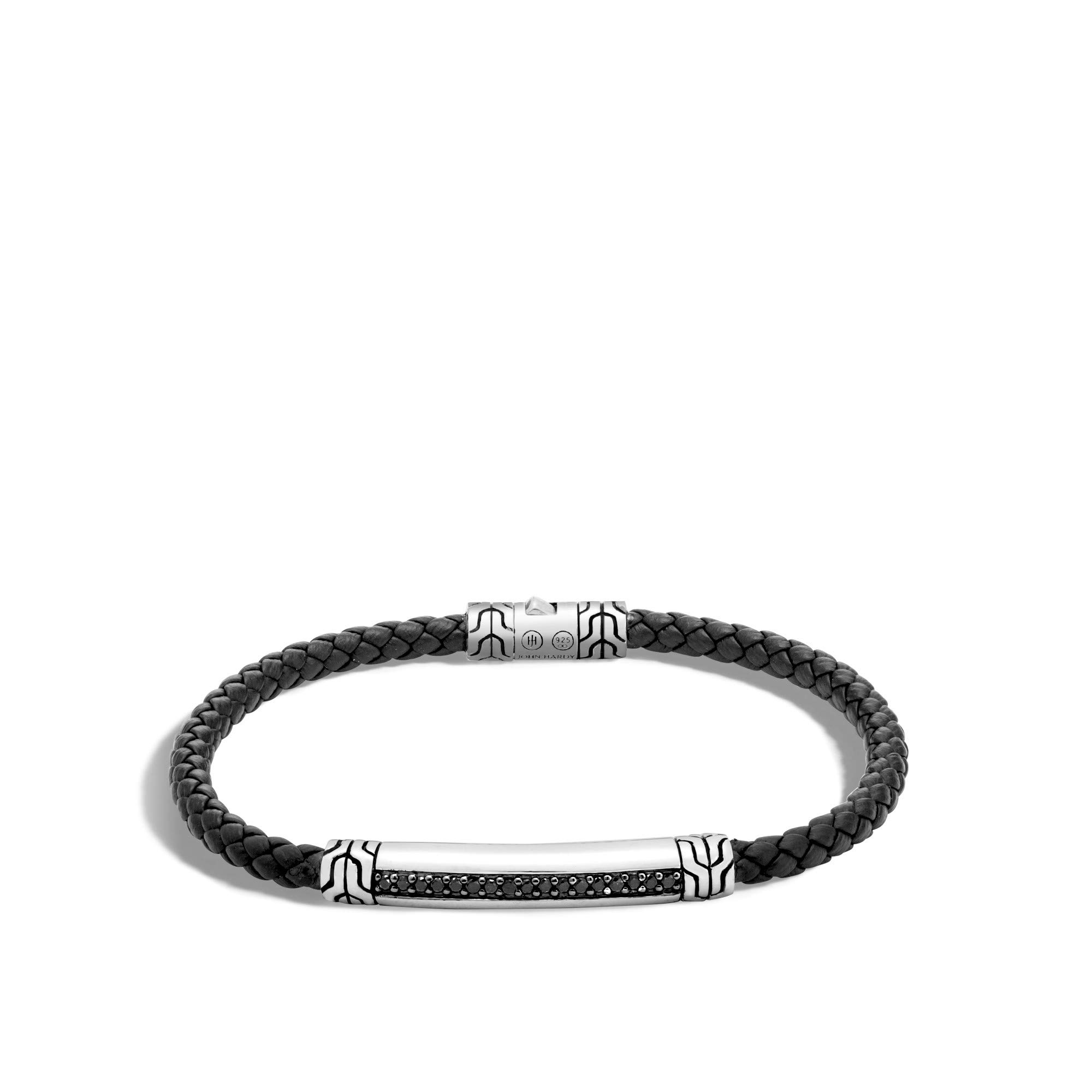 John Hardy Men's Classic Chain Silver Bracelet on 4mm Black Woven Leather Cord with Pusher Clasp with Black Sapphire, Size M