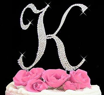 letter k swarovski crystal monogram wedding cake topper letter