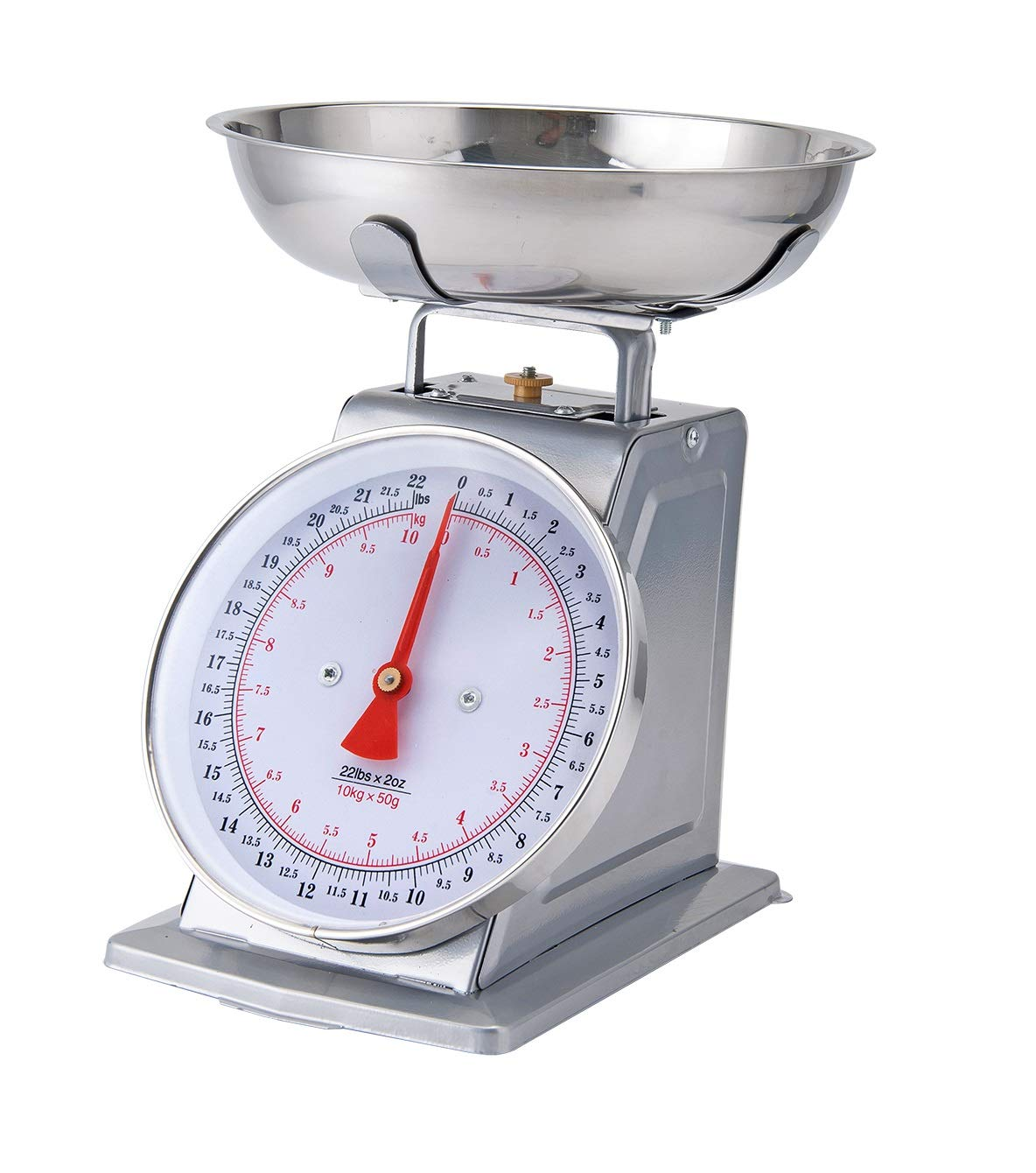 RED Kitchen Scale White Metal With A Stainless Steel Tray 22-Pound