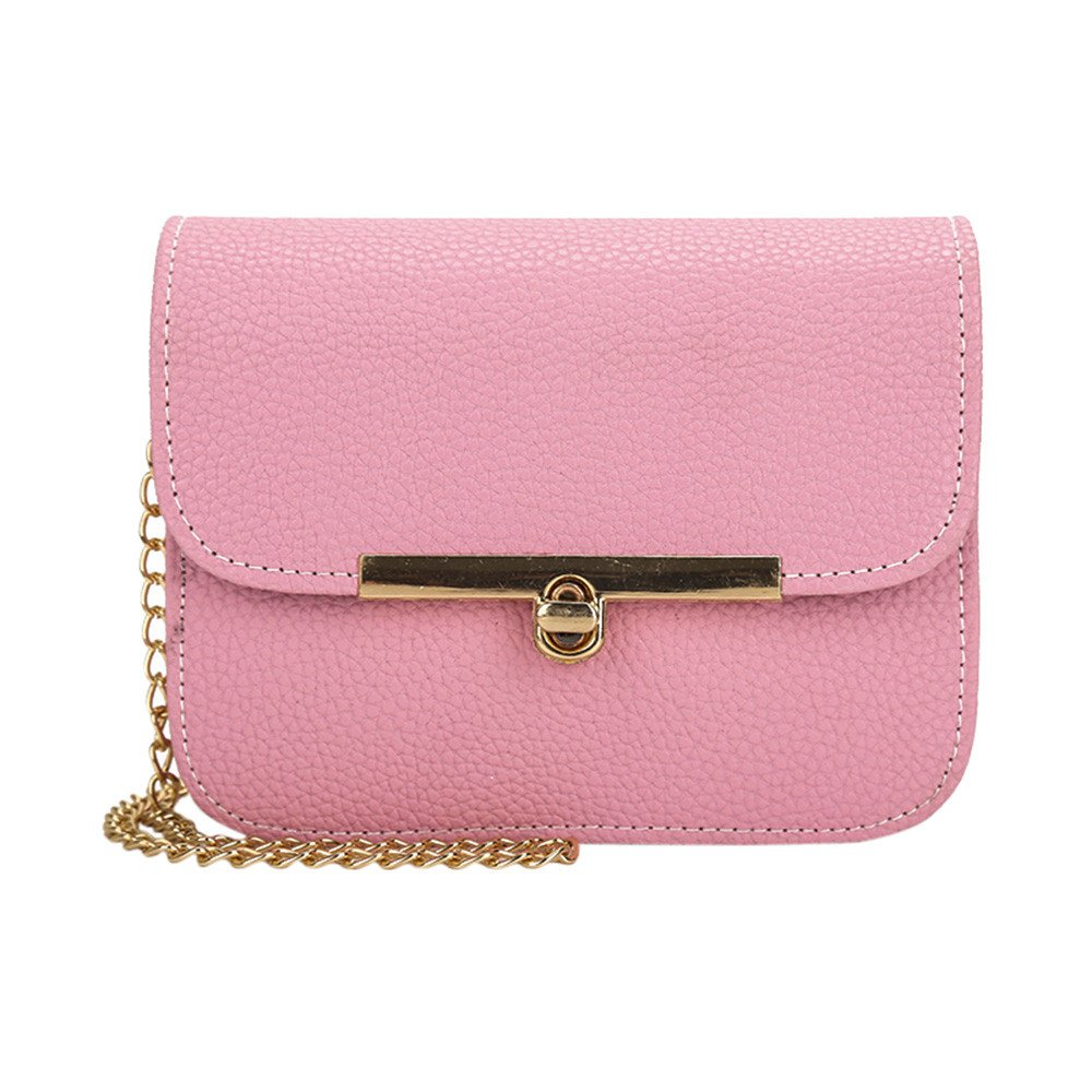 Clearance Sale! ZOMUSAR Fashion Women Bags Crossbody Chain Straps Messenger Shoulder Bag Handbag Leather Cell Phone Pocket (Pink)