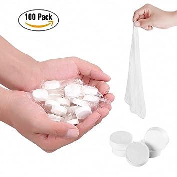 Toallitas comprimidas en pastillas, toallas compactas desechables, portátiles, húmedas, mano, para bebés perros gattos, paños de limpieza (A-100): ...