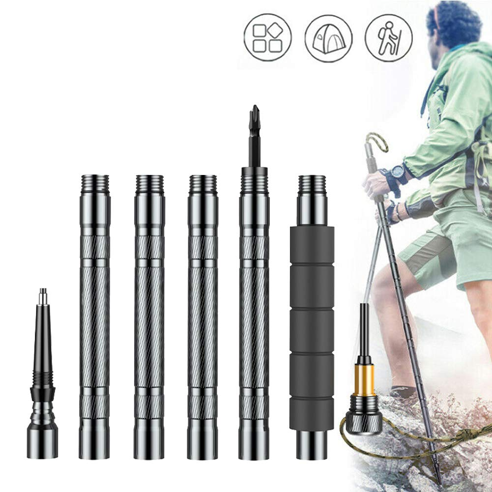 Have All The Tools You Need for The Outdoors Wild Self-Defense Hiking or Walking Sticks for Outdoor Adventure Rojuicy Lightweight Aluminum Alloy Trekking Hiking Poles Collapsible Hiking Camping