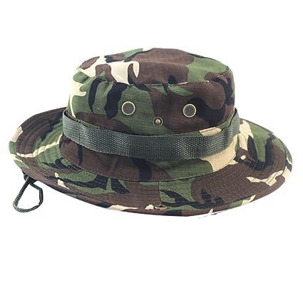 a2e2785e Quaanti Outdoor Bucket Sun Hat丨Adjustable Army Camouflage Bucket Hat Wide-Brim  Boonie Hat
