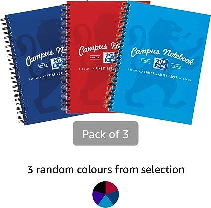Oxford Campus, Cuaderno A5, líneas, 140 páginas, varios colores, paquete de 3: Amazon.es: Oficina y papelería