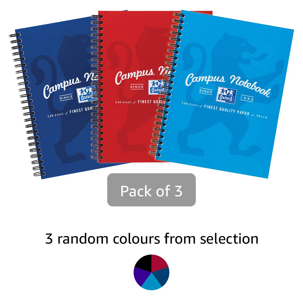 Oxford Campus, A5 Notebook, Lined, 140 Page, Assorted Colours, Pack of 3