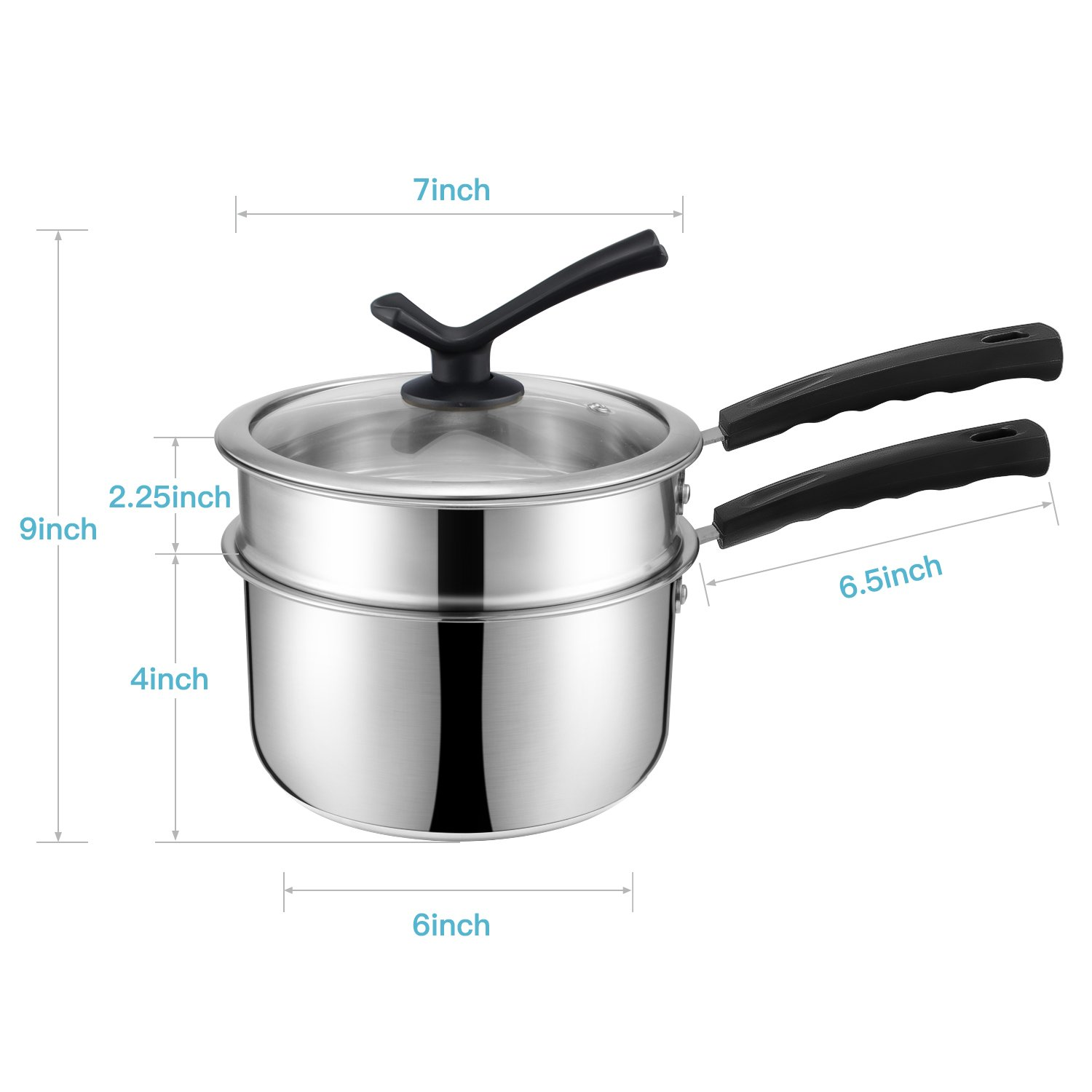 Double Boiler&Classic Stainless Steel Non-Stick Saucepan,Melting Pot for Butter,Chocolate,Cheese,Caramel and Bonus with Tempered Glass Lid by JKsmart (Image #2)