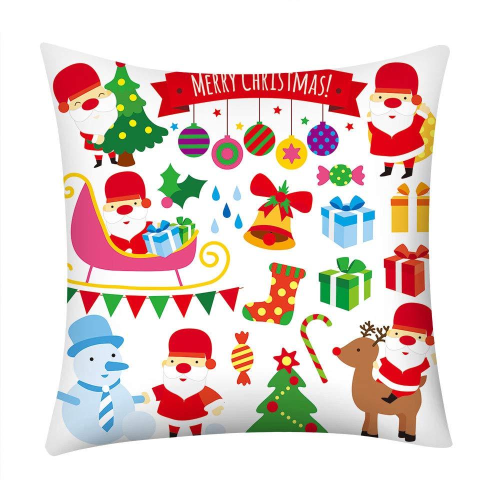 Pgojuni Happy Year Pillowcase Merry Christmas Pillow Case Polyester Sofa Car Cushion Cover Home Decor Cover Pillow Case1pc (45cm X 45cm) (D)