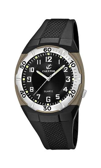 Calypso K5214/2 - Reloj analógico de caballero de cuarzo con correa de plástico negra - sumergible a 50 metros: Amazon.es: Relojes