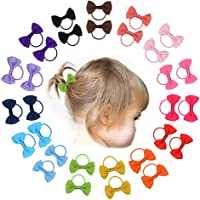 Demolling 30 PCS Baby Tiny Hair Bows with Elastic Loop Ponytail Ties Pony Tail Holder Accessories for Infants Toddlers Girls Kids