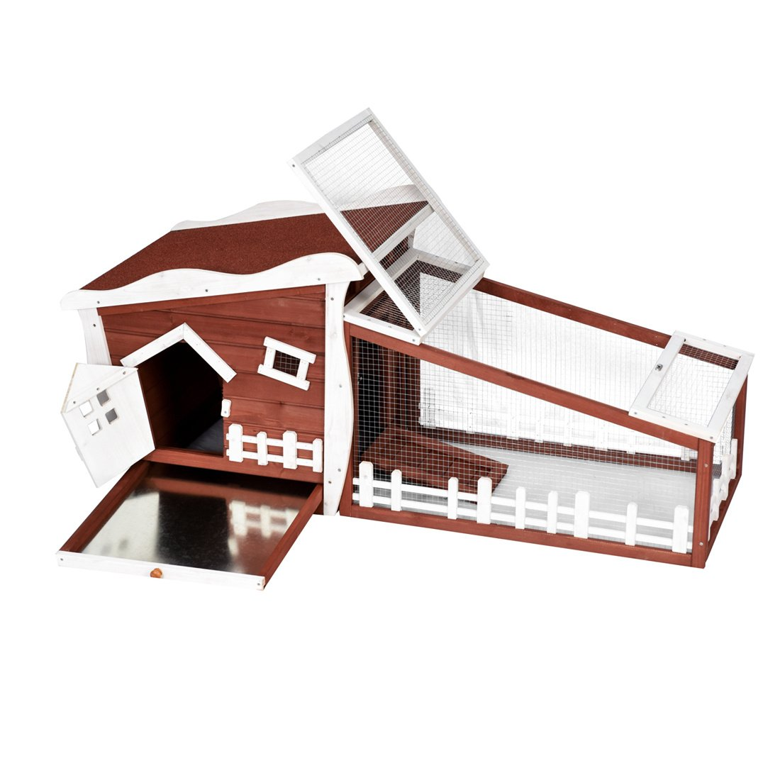 Good Life Wooden Easy Clean Rabbit Guinea Pig Cage Bunny Hutch - Outdoor Cute Fairytale Cartoon Style Pet House Coop by GOOD LIFE USA (Image #5)