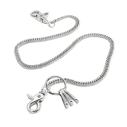 c8ca3a09f38b Lightweight Super Thin Cut Link Wallet Chain Swivel Trigger snap Biker Punk  Key Chain (Silver)