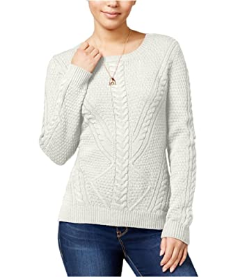 Hippie Rose Womens Cable Knit Sweater White M , Juniors at
