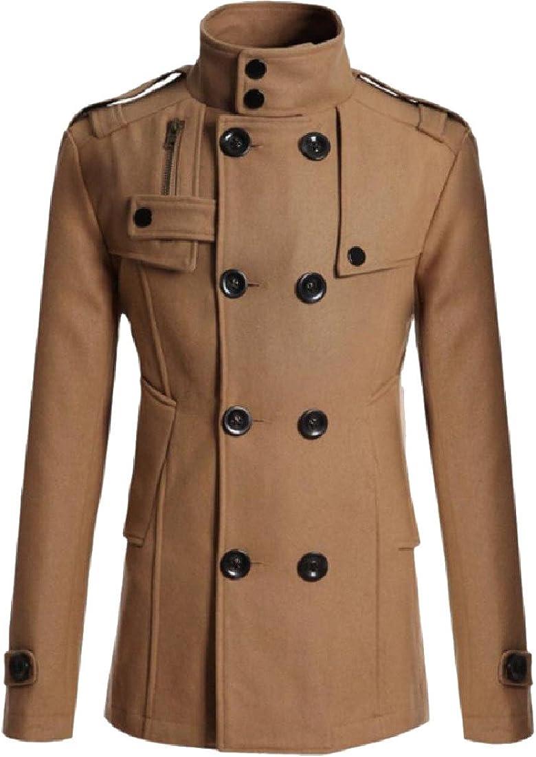 KaWaYiMen Kawayi Men Double-Breasted Solid Oversized Woolen Trench Coat Jacket