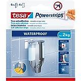 Tesa 59774-00000-00 Adhesivas Removibles Powerstrips Waterproof, 6 Tiras + 6 toallitas