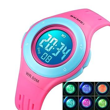 Msxx Reloj Digital de los niños, Multi-función 6 Luces LED ...