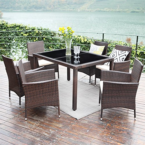 Table Brown Dining Glass (Wisteria Lane Patio Wicker Dining Set, 7 Piece Outdoor Rattan Dining Furniture Glass Table Cushioned Chair,Brown)