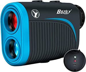 Bozily Golf Rangefinder, 6X Rechargeable Laser Range Finder 1200 Yards with Slope Adjustment, Flag-Lock, Slope ON/Off, Continuous Scan Support - Tournament Legal Golf Rangefinder