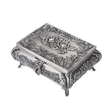 OUNONA - Joyero de metal tallado en rosa rectangular con anillo, organizador de anillos,