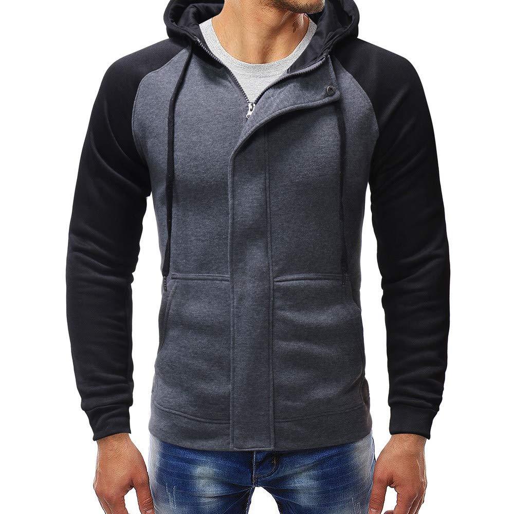 PASATO Men's Long Sleeve Autumn Winter Splicing Casual Sweatshirt Hoodies Top Blouse Outswear O-Neck Cardigan(Gray, 3XL)