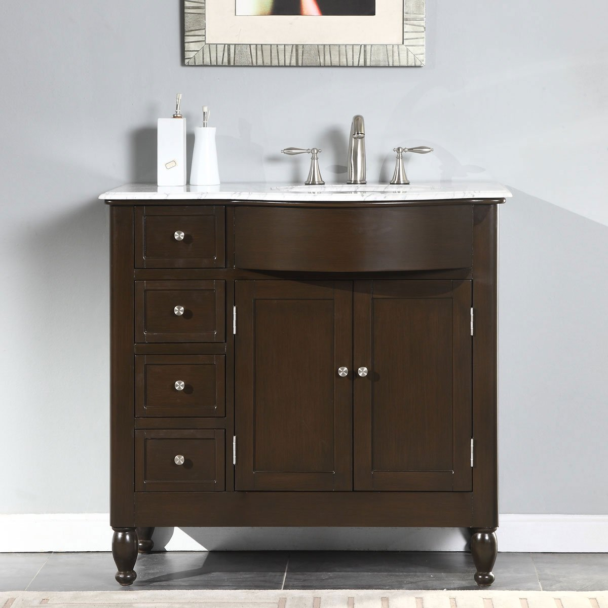 Silkroad Exclusive White Marble Top Right Sink Bathroom Vanity with Furniture Cabinet, 38-Inch by Silkroad Exclusive