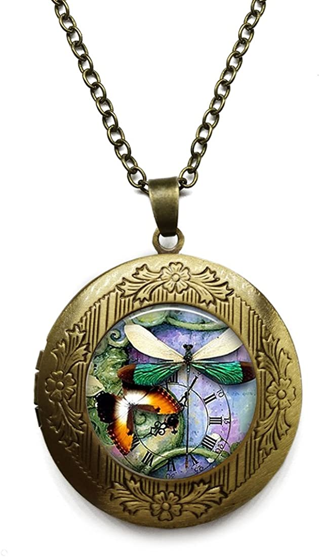 Vintage Bronze Tone Locket Picture Pendant Necklace Retro Clock Included Free Brass Chain Gifts Personalized