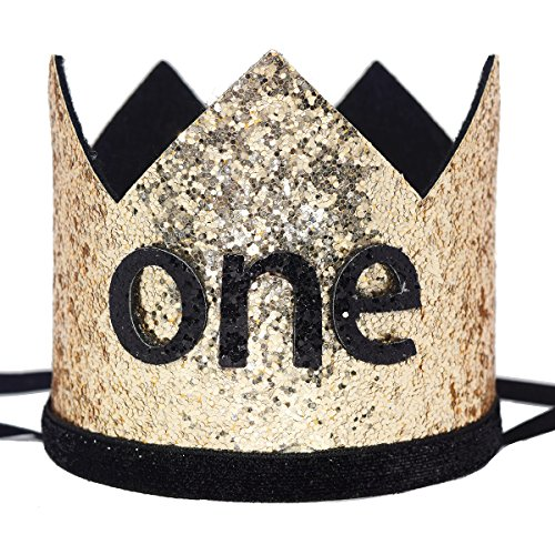 Maticr Glitter Baby Boy First Birthday Crown Number 1 Headband Little Prince Princess Cake Smash Photo Prop (Large Gold & Black One)