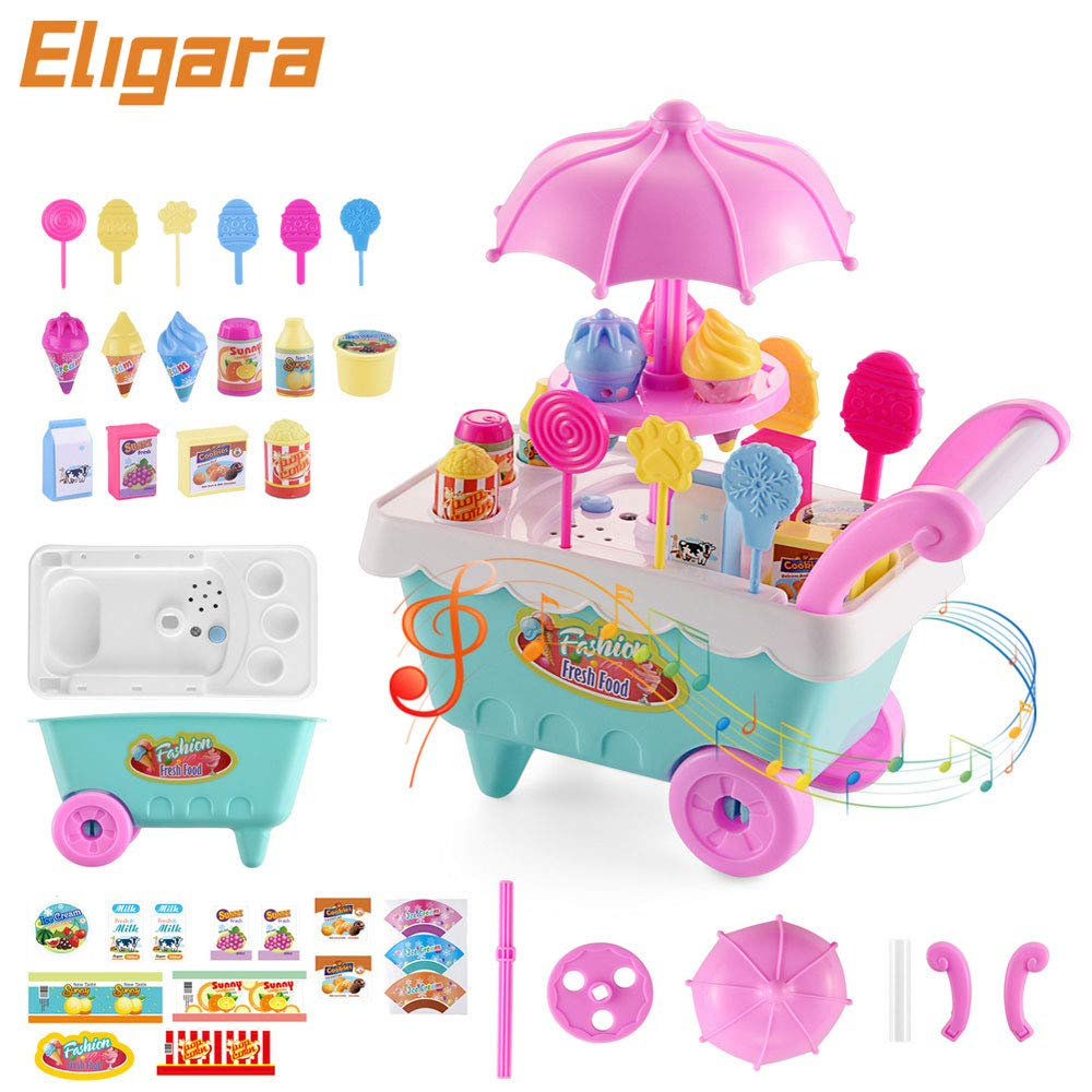 Eligara Ice Cream Toy Cart Set with 16 Desserts Candy Light & Music Portable Pretend Play Food Kit Best Gift for Boys and Girls
