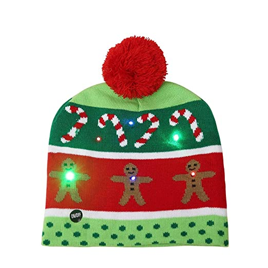 b1b52cdae54 Image Unavailable. Image not available for. Color  Alexsix Christmas Cap  Hat Knitting LED Light Lovely Decoration Warm for Party New Year