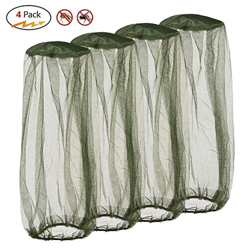 Silkclo 4 Pack Mosquito Head Net,Lightweight Face Mesh Head Cover Insect Repellent Netting Fly Screen Protection for Camping,Hiking,Traveling,Fishing (4Pack)