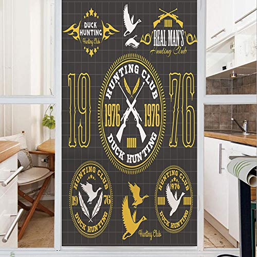 1976 Chateau - Decorative Window Film,No Glue Frosted Privacy Film,Stained Glass Door Film,Vintage Club Emblem from 1976 Hobby of Duck Hunting Themed Labels,for Home & Office,23.6In. by 59In Yellow Black White