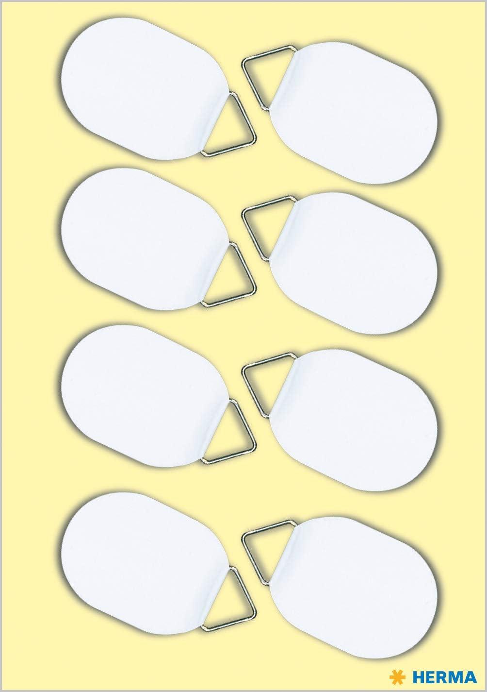 HERMA 5753 Bildaufh/änger zum kleben permanent haftend wei/ß selbstklebend Tragkraft 100 g /Ø 26 x 35 mm, 8 St/ück, Papier mit Leinenstruktur