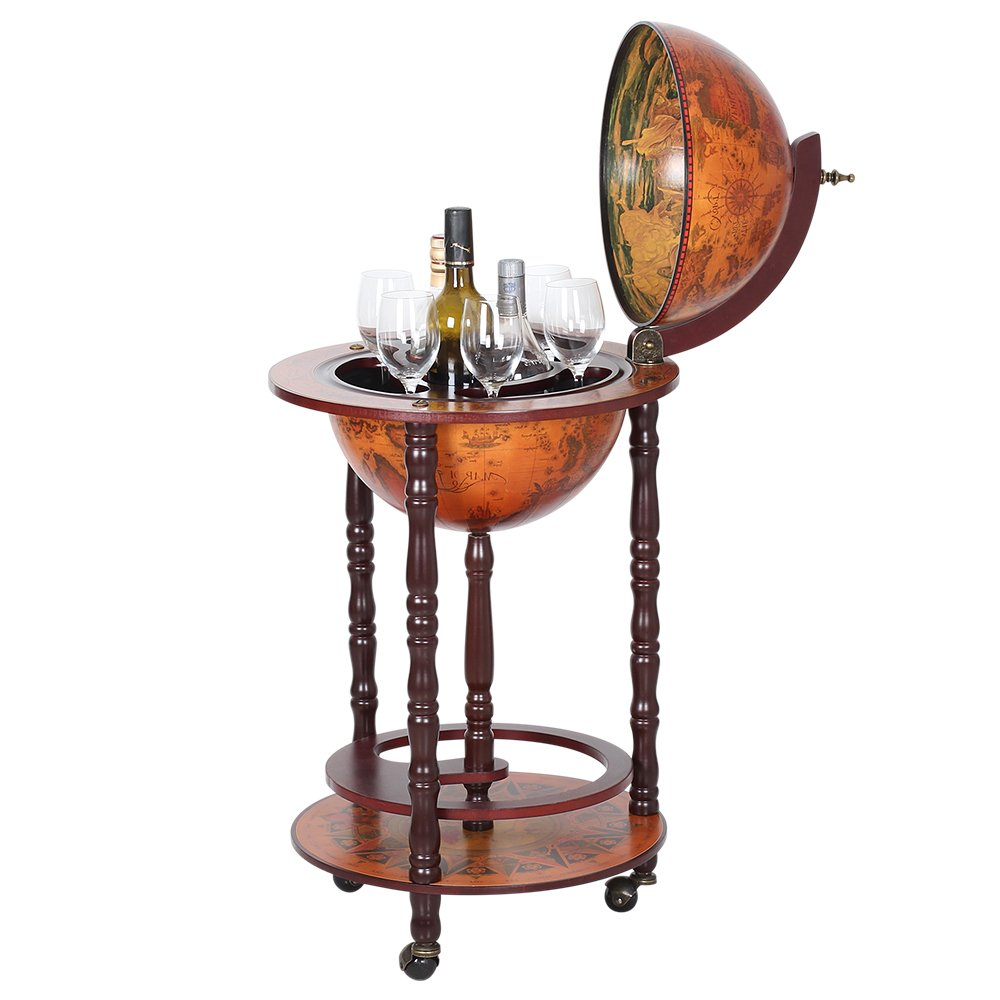 HAITRAL Globe Wine Bar Stand 16th Century Italian Wine Cabinet Wood (NX-JG33001R) by HAITRAL