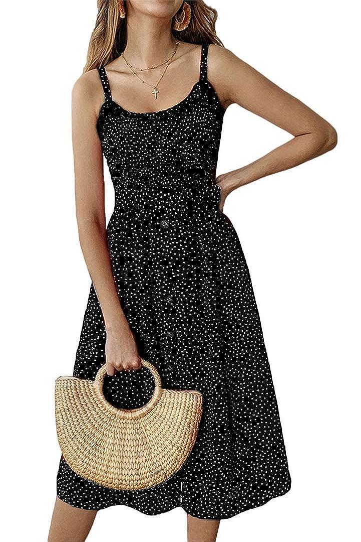 color5 Yoyoma Womens Sun Dresses Summer Sunfloral Print Spaghetti Strap Button Beach Casual Midi Dress