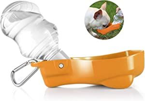 Flexzion Dog Water Bottle with Foldable Bowl Holder Drink Cup Tray Stand Attachment for Walking, Travel Drinking Dispenser Hanging Buckle Accessory for Pets, Dogs, Cats, Small Animals