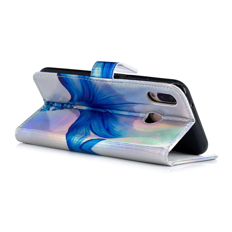 Carols Coque Huawei P20 Lite, Huawei P20 Lite Coque Portefeuille PU Etui TPU Bumper Case Design Laser Couleur Brillant Sir/ène