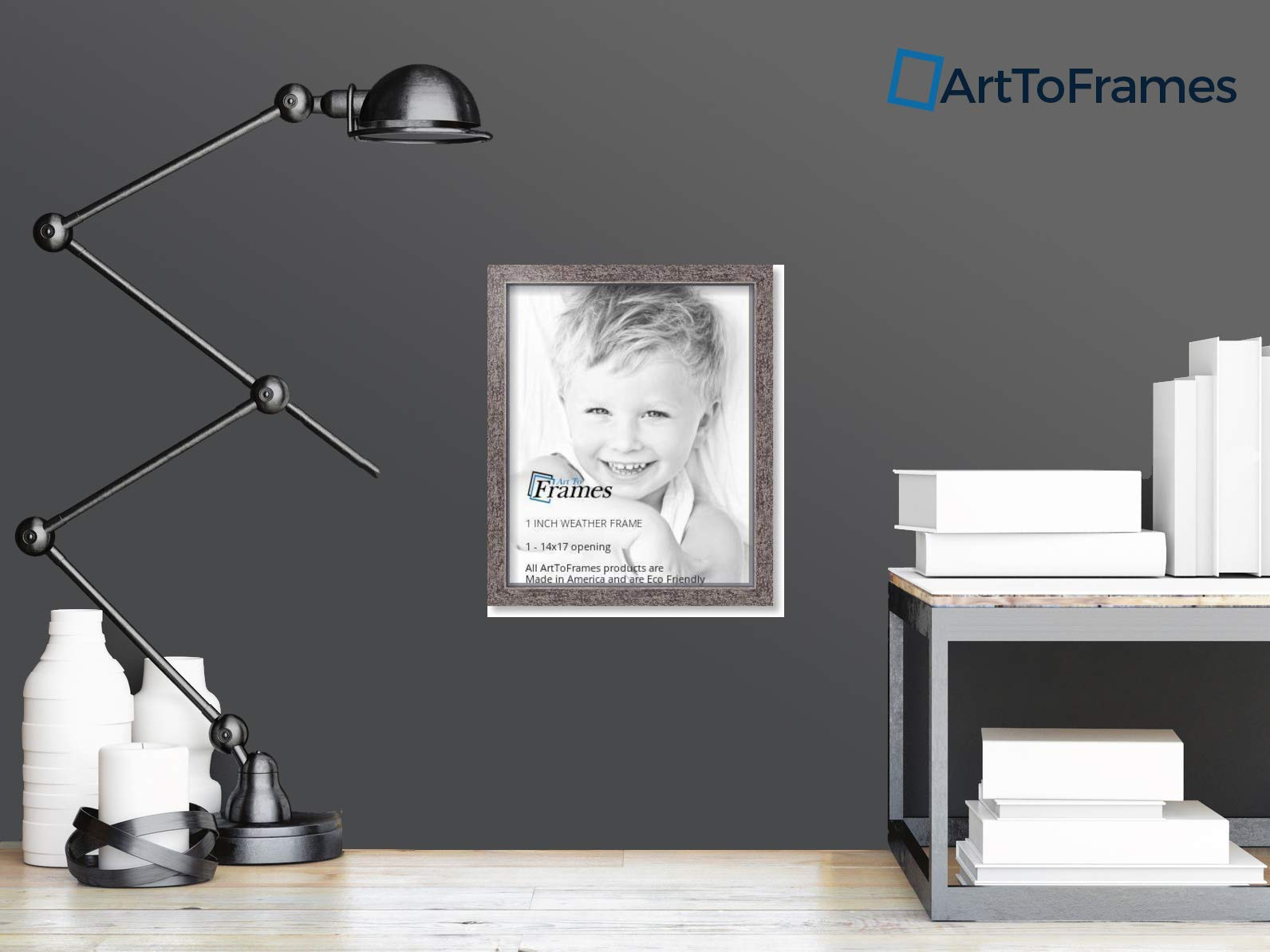 ArtToFrames 14x17 inch Gray Rustic Barnwood Wood Picture Frame, 2WOM0066-77900-YGRY-14x17, 14 x 17'', by ArtToFrames (Image #4)