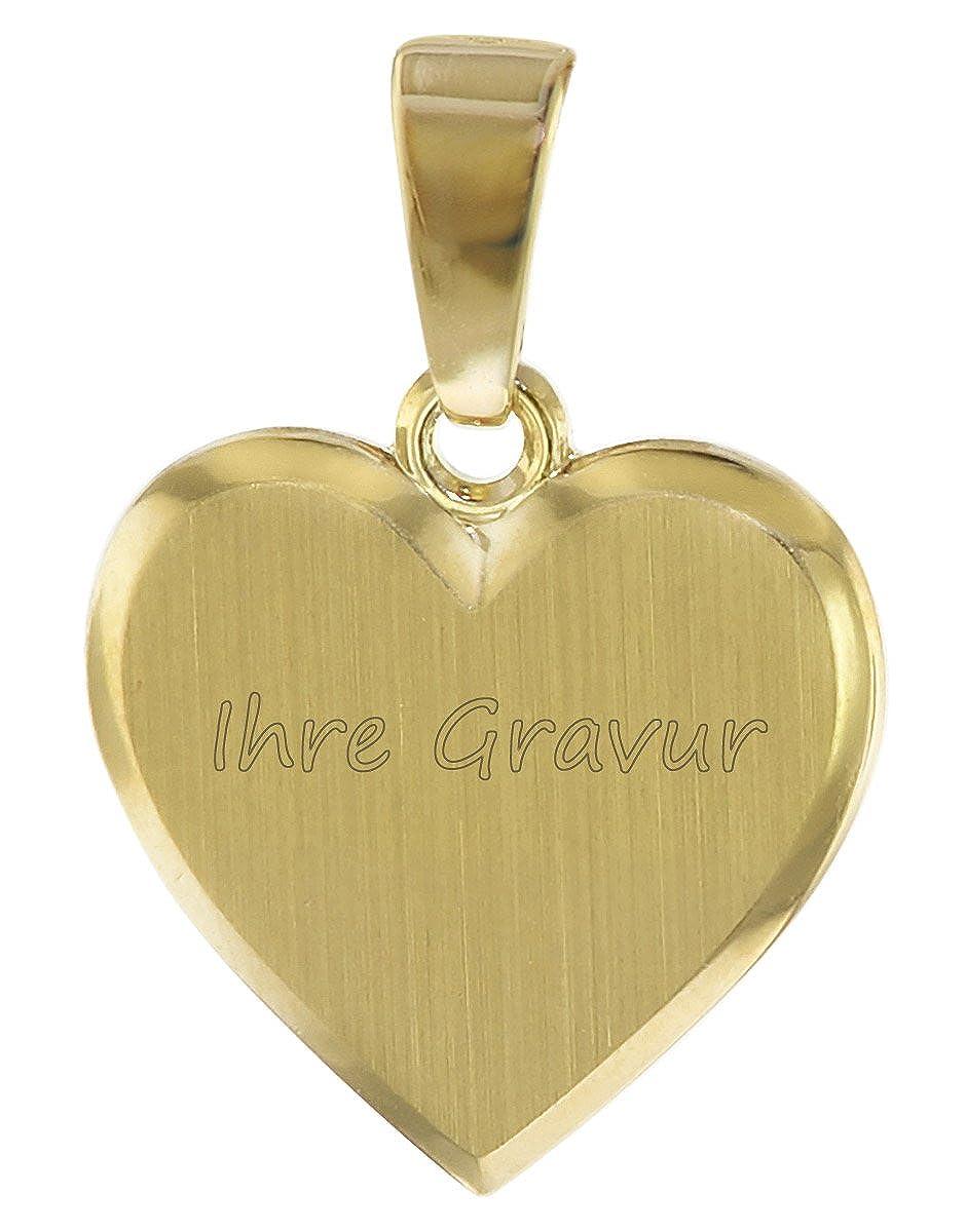trendor Kinder Gravur-Anhänger Herz Gold 333 08526 - inklusive Wunsch-Gravur