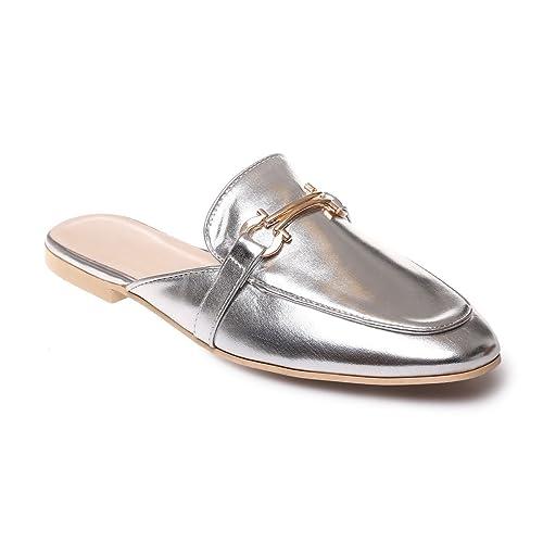 La Modeuse - Mocasines para mujer, plateado (plata), 40 EU: Amazon.es: Zapatos y complementos