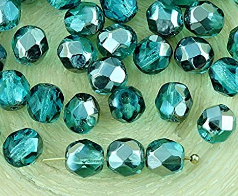 40pcs crystal metallic half round faceted fire polished spacer czech glass beads