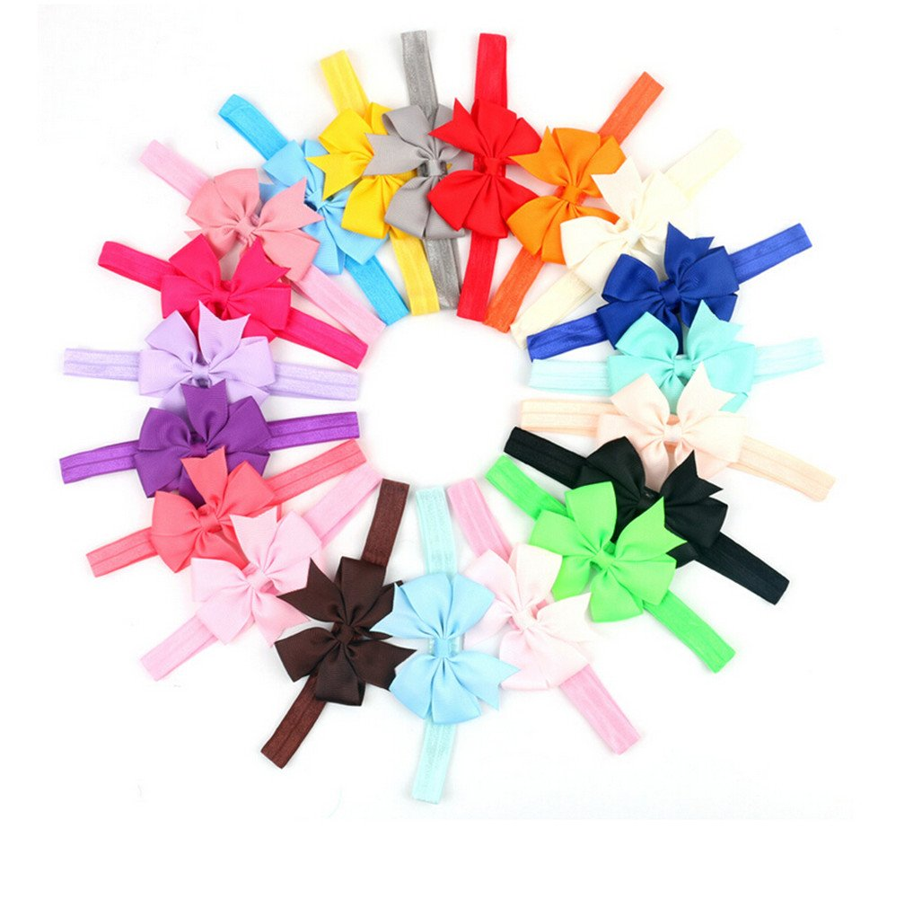 CuteOn 20 Pack Cute Toddlers Baby Elastic Headband Hairband Bowknot Photography