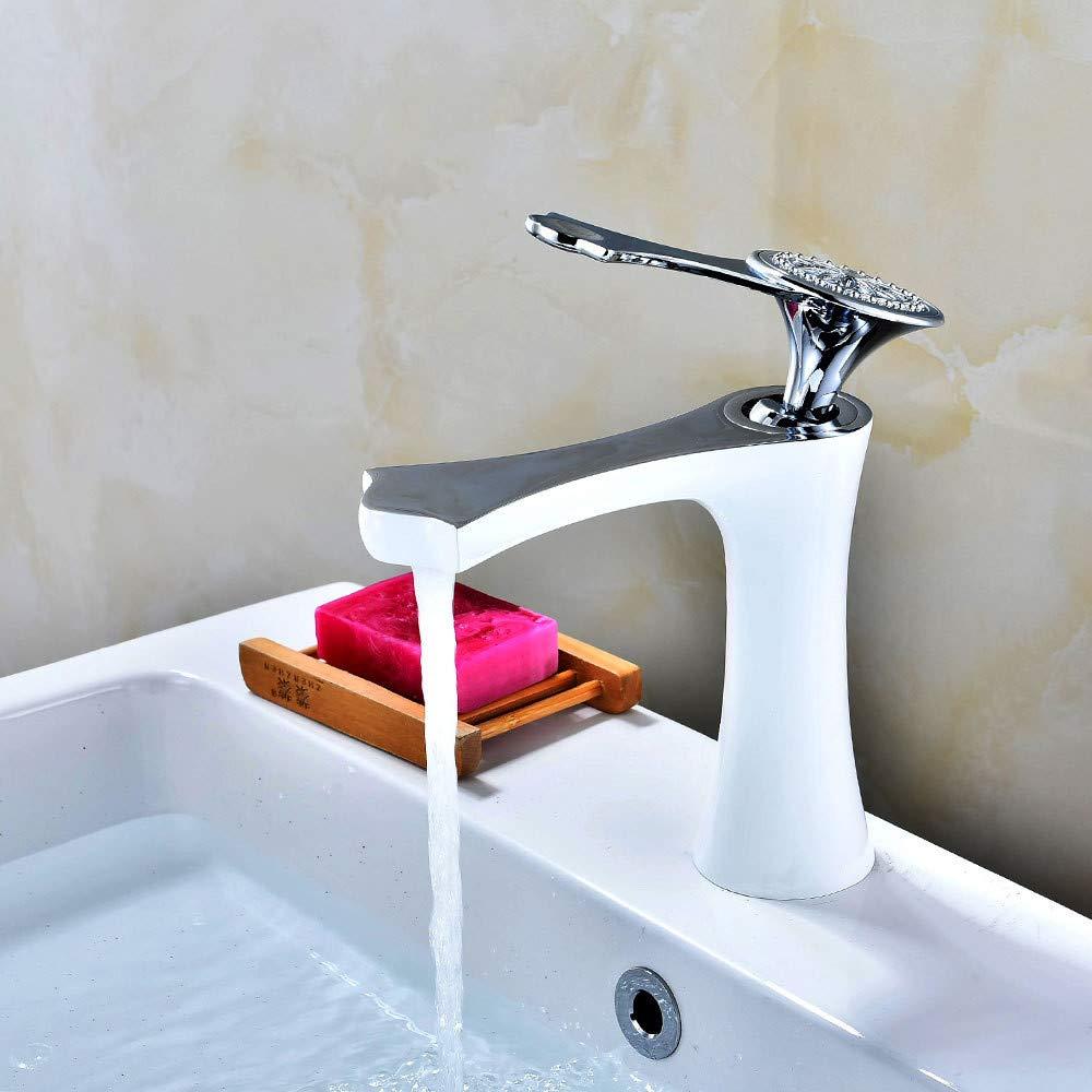 ROTOOY Wasserhähne Wasserhahn Malen weißen Becken Wasserhahn Bad Heißen Und Kalten Wasserhahn Waschbecken Wasserhahn Unter Gegenbecken Wasserhahn