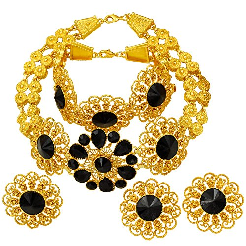 24K Tone Chunky Chain Jewelry Set Women, Fashion Dubai Black Gold Necklace Earrings Bridal Bridesmaid Mother Jewelry Gift