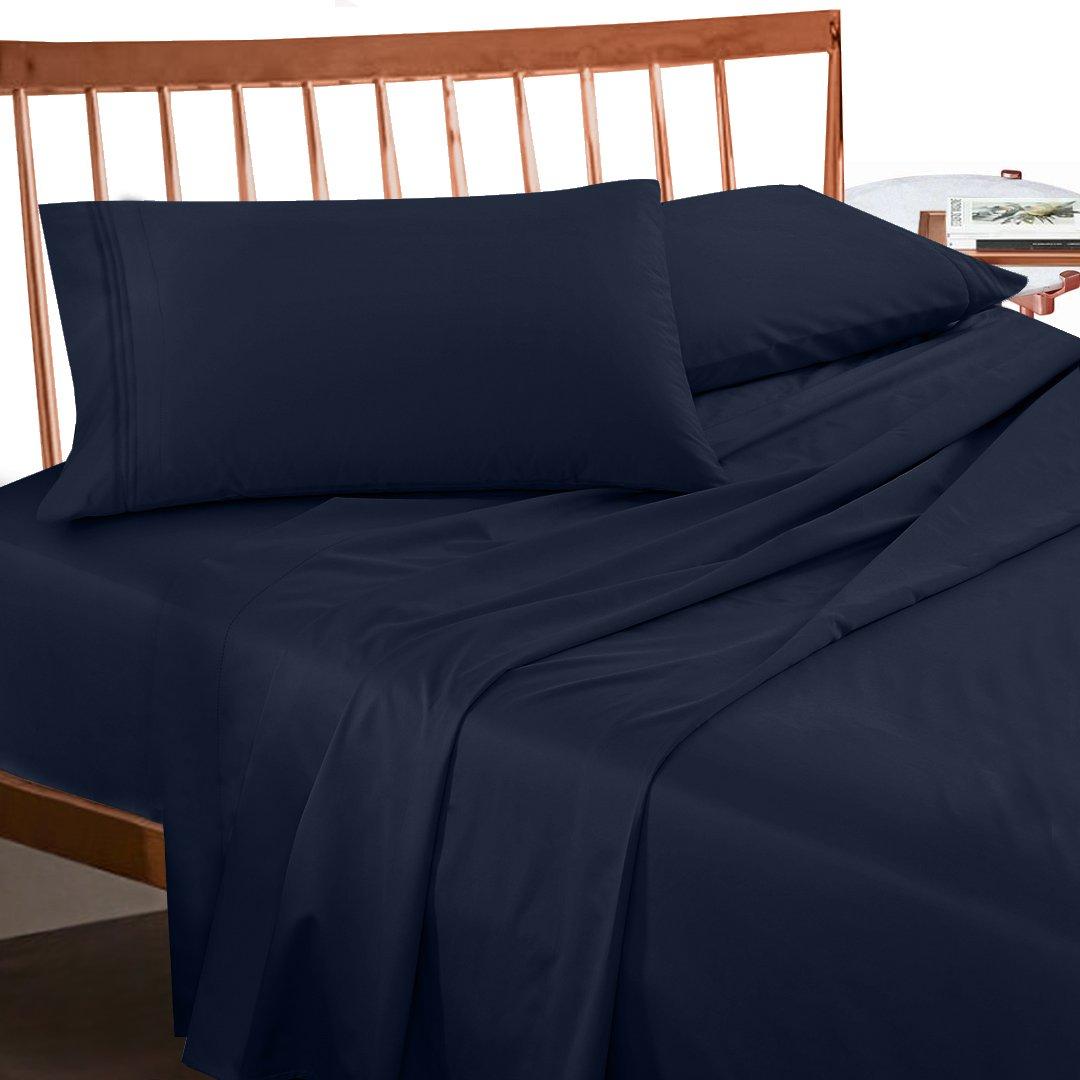 Amazon.com: Premium Twin XL Sheets Set   Dark Navy Blue Hotel