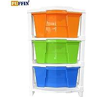 Puffin Plastic 3 Modular Drawer Plastic Modular Storage Organizer & Storage Box