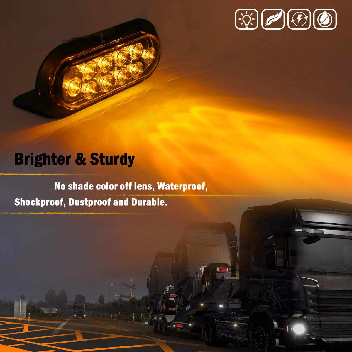 """Meerkatt Pack of 2 6/"""" Inch Oval Smoked Lens Amber Surface Mount Super Bright Sealed LED Waterproof Turn Signal Lights Side Marker Clearance Lamp Pickup Boat Lorry Cabin Trailer Truck SUV 12v DC DA12"""