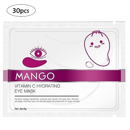 30 parches de máscara de ojos, máscara de ojos de vitamina C para ojeras y