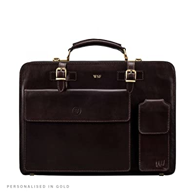 Maxwell Scott Personalized Handcrafted Italian Full Grain Leather Briefcase For Discerning Men (The Alanzo)